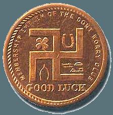 US John Deere 'token' showing various good luck 'charms'